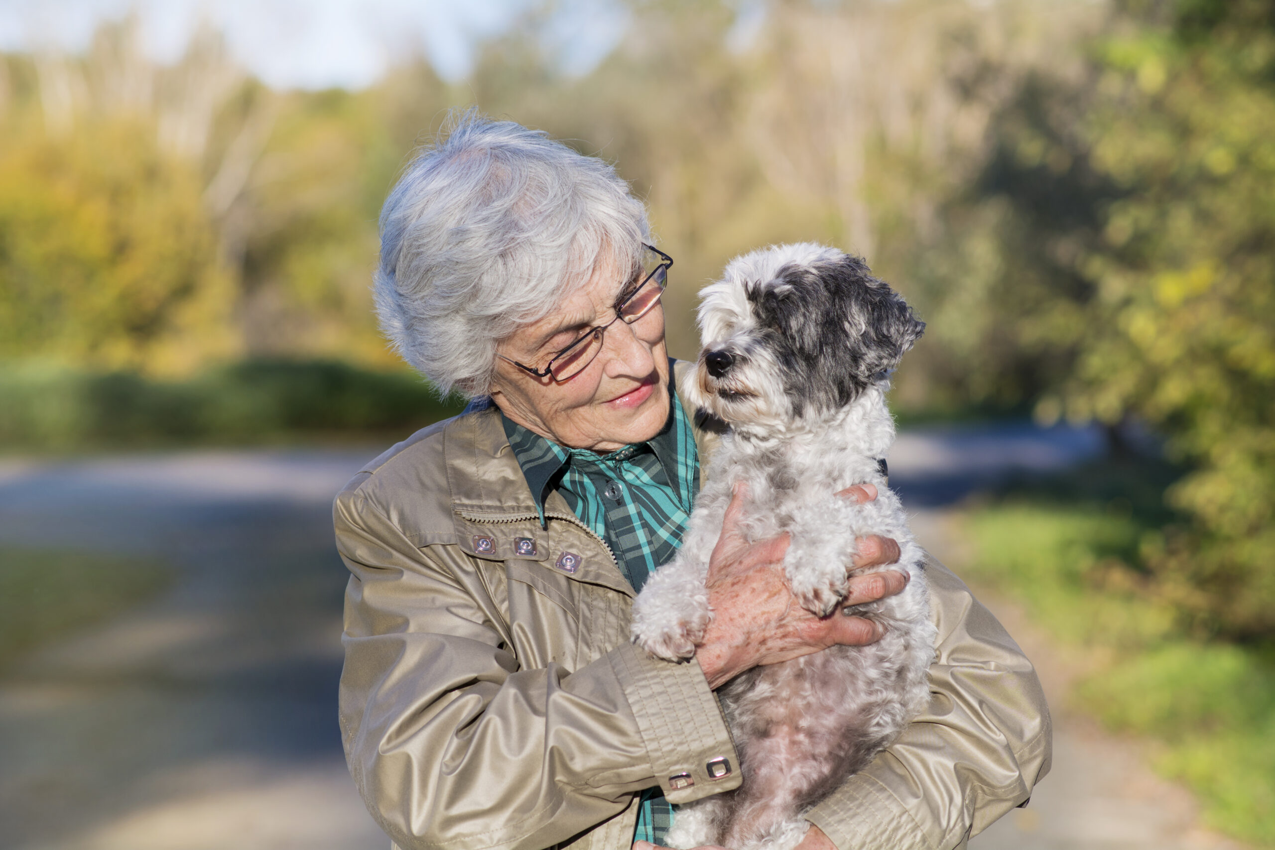 beautiful senior smiling woman hugging her dog outside in the fall